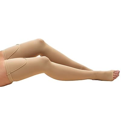 Truform Anti-Embolism Thigh Length Stockings, Open Toe: 18 mmHg, L, BEIGE (0810BG-L)