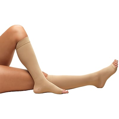 Truform Anti-Embolism Stockings, Knee High, Open Toe: 18 mmHg, M, BEIGE (0808BG-M)
