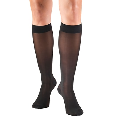 Truform Women's Stockings, Knee High, Sheer: 30-40 mmHg, XL, BLACK (0253BL-XL)