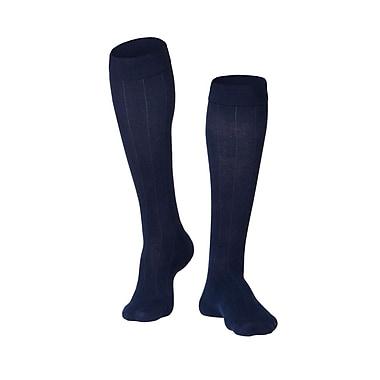 Touch Men's Compression Socks, Knee High, Rib Pattern, 15-20 mmHg, L, NAVY (1012NV-L)