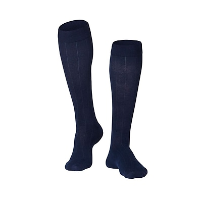 Touch Men's Compression Socks, Knee High, Rib Pattern, 15-20 mmHg, M, NAVY (1012NV-M)