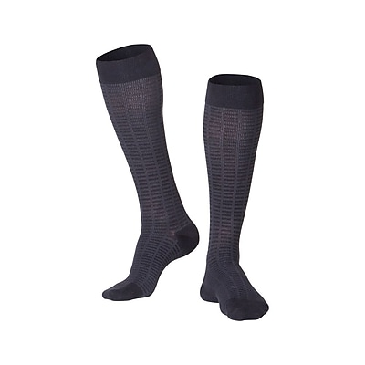 Touch Men's Compression Socks, Knee High, Checkered Pattern, 15-20 mmHg, XL, BLACK (1013BL-XL)