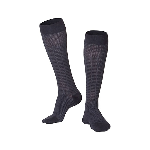 Touch Men's Compression Socks, Knee High, Checkered Pattern, 15-20 mmHg, L, BLACK (1013BL-L)