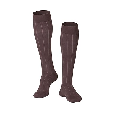 Touch Men's Compression Socks, Knee High, Rib Pattern, 15-20 mmHg, M, BROWN (1012BN-M)