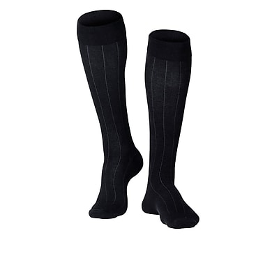 Touch Men's Compression Socks, Knee High, Rib Pattern, 15-20 mmHg, M, BLACK (1012BL-M)