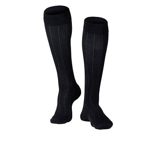 Touch Men's Compression Socks, Knee High, Rib Pattern, 15-20 mmHg, L, BLACK (1012BL-L)