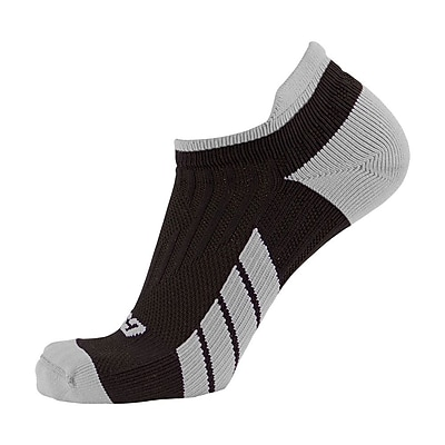 CSX Low Cut Ankle Sock Pro, L, SILVER ON BLACK (X100SB-L)