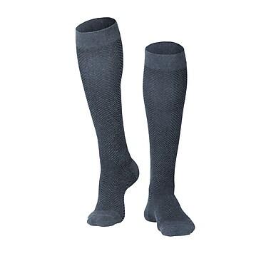 Touch Men's Compression Socks, Knee High, Herringbone Pattern, 15-20 mmHg, L, CHARCOAL (1011CH-L)