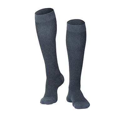 Touch Men's Compression Socks, Knee High, Herringbone Pattern, 15-20 mmHg, M, CHARCOAL (1011CH-M)