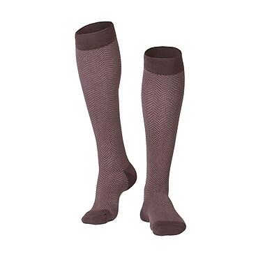 Touch Men's Compression Socks, Knee High, Herringbone Pattern, 15-20 mmHg, XL, BROWN (1011BN-XL)