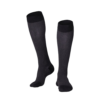 Touch Men's Compression Socks, Knee High, Herringbone Pattern, 20-30 mmHg, M, BLACK (1021BL-M)
