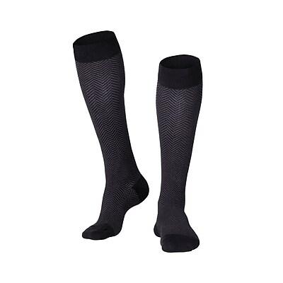 Touch Men's Compression Socks, Knee High, Herringbone Pattern, 15-20 mmHg, L, BROWN (1011BN-L)