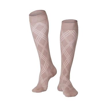 Touch Men's Compression Socks, Knee High, Argyle Pattern, 15-20 mmHg, M, TAN (1014TN-M)
