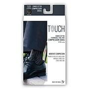 Touch Men's Compression Socks, Knee High, Argyle Pattern, 15-20 mmHg, L, BLACK (1014BL-L)