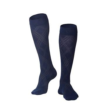 Touch Men's Compression Socks, Knee High, Argyle Pattern, 15-20 mmHg, M, NAVY (1014NV-M)