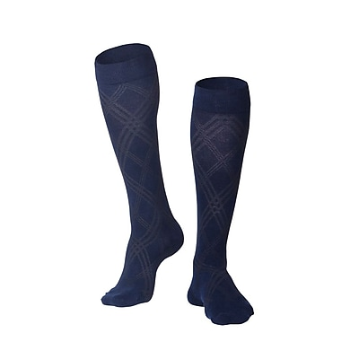 Touch Men's Compression Socks, Knee High, Argyle Pattern, 15-20 mmHg, L, NAVY (1014NV-L)