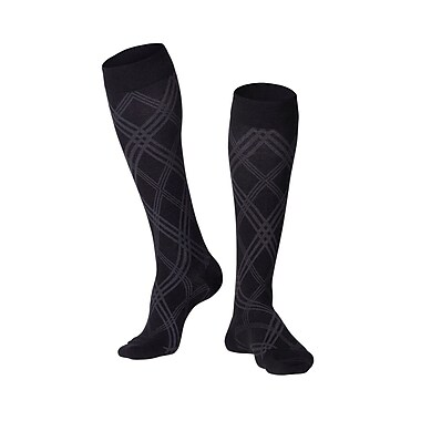 Touch Men's Compression Socks, Knee High, Argyle Pattern, 20-30 mmHg, L, BLACK (1024BL-L)
