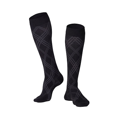 Touch Men's Compression Socks, Knee High, Argyle Pattern, 15-20 mmHg, M, BLACK (1014BL-M)