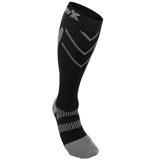 CSX Compression  Socks, Sport Recovery Style, 15-20 mmHg, M, SILVER ON BLACK (X200SB-M)