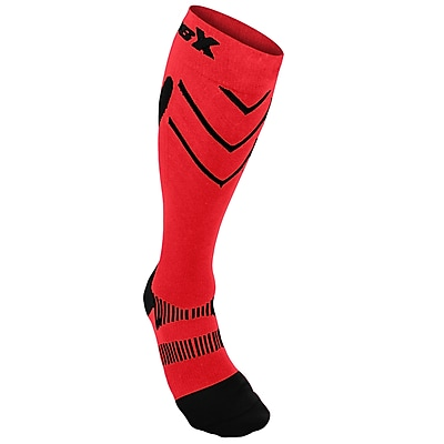 CSX Compression Socks, Sport Recovery Style, 15-20 mmHg, M, BLACK ON RED (X200BR-M)