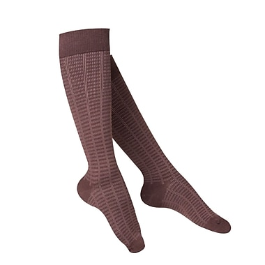 Touch Women's Compression Socks, Knee High, Checkered Pattern, 15-20 mmHg, L, BROWN (1063BN-L)