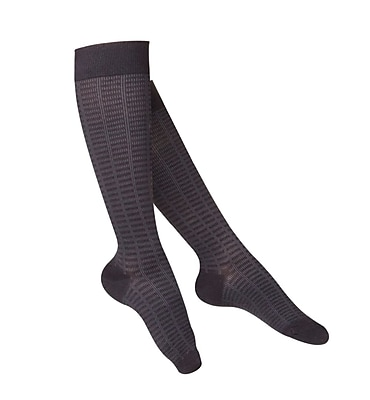 Touch Women's Compression Socks, Knee High, Checkered Pattern, 15-20 mmHg, S, BLACK (1063BL-S)