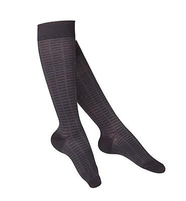 Touch Women's Compression Socks, Knee High, Checkered Pattern, 15-20 mmHg, L, BLACK (1063BL-L)