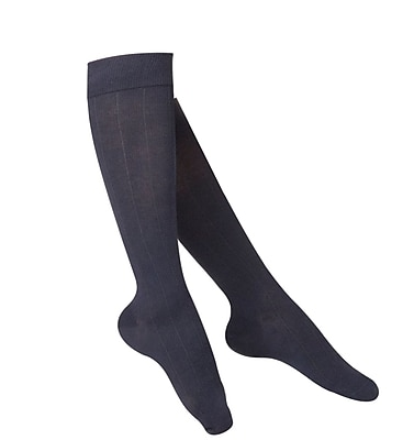 Touch Women's Compression Socks, Knee High, Rib Pattern, 15-20 mmHg, M, NAVY (1062NV-M)