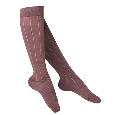 Touch Women's Compression Socks, Knee High, Rib Pattern, 15-20 mmHg, S, BROWN (1062BN-S)