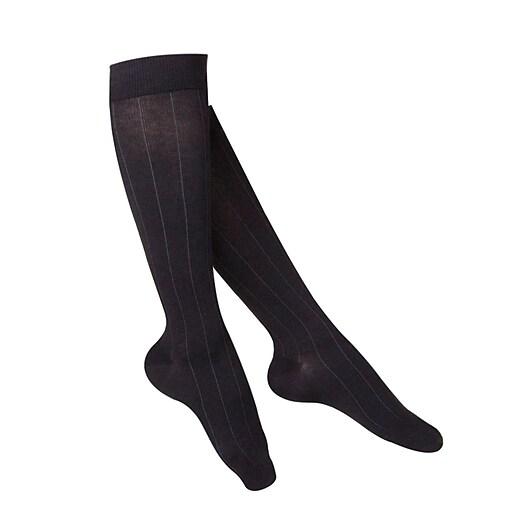 Touch Women's Compression Socks, Knee High, Rib Pattern, 15-20 mmHg, L, BLACK (1062BL-L)