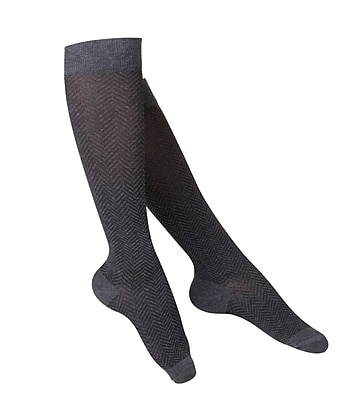 Touch Women's Compression Socks, Knee High, Herringbone Pattern, 15-20 mmHg, S, CHARCOAL (1061CH-S) 2617039