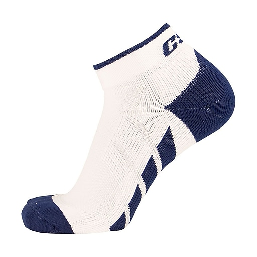 CSX High Cut Ankle Sock Pro, L, NAVY ON WHITE (X110NWH-L)