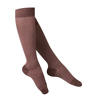 Touch Women's Compression Socks, Knee High, Herringbone Pattern, 15-20 mmHg, S, BROWN (1061BN-S)