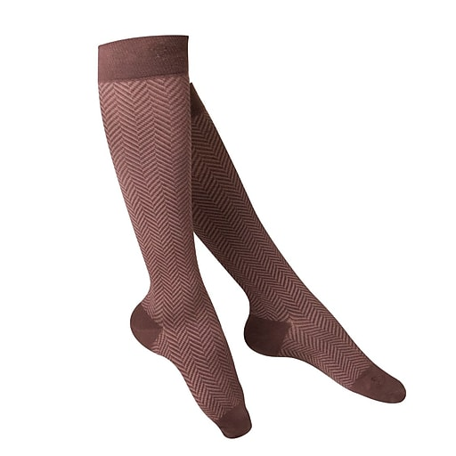 Touch Women's Compression Socks, Knee High, Herringbone Pattern, 15-20 mmHg, L, BROWN (1061BN-L)