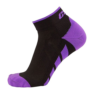 CSX High Cut Ankle Sock Pro, S, PURPLE ON BLACK (X110PRB-S)