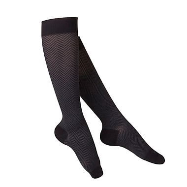 Touch Women's Compression Socks, Knee High, Herringbone Pattern, 15-20 mmHg, M, BLACK (1061BL-M)