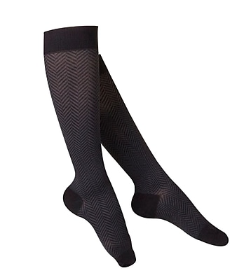 Touch Women's Compression Socks, Knee High, Herringbone Pattern, 20-30 mmHg, L, BLACK (1071BL-L)