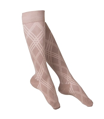 Touch Women's Compression Socks, Knee High, Argyle Pattern, 15-20 mmHg, L, TAN (1064TN-L)