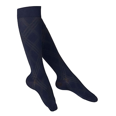 Touch Women's Compression Socks, Knee High, Argyle Pattern, 15-20 mmHg, L, NAVY (1064NV-L)