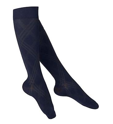 Touch Women's Compression Socks, Knee High, Argyle Pattern, 15-20 mmHg, L, NAVY (1064NV-L)