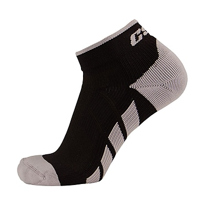 CSX High Cut Ankle Sock Pro, XL, SILVER ON BLACK (X110SB-XL)