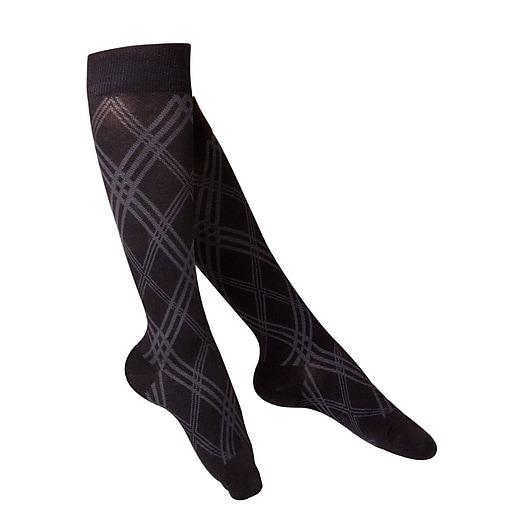 Touch Women's Compression Socks, Knee High, Argyle Pattern, 20-30 mmHg, M, BLACK (1074BL-M)