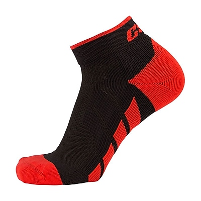 CSX High Cut Ankle Sock Pro, M, RED ON BLACK (X110RB-M)