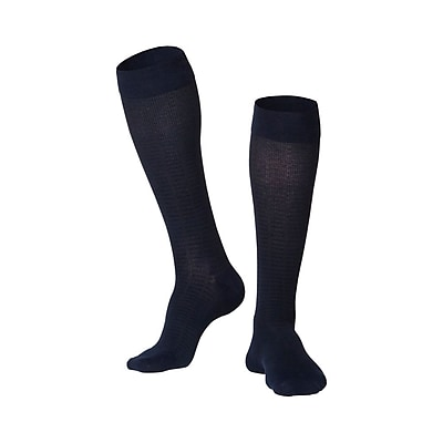 Touch Men's Compression Socks, Knee High, Checkered Pattern, 15-20 mmHg, L, NAVY (1013NV-L)