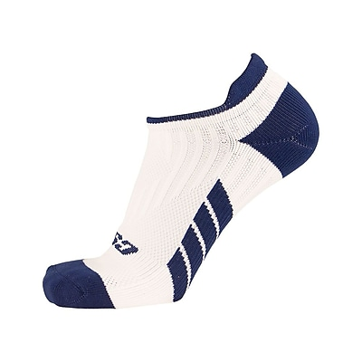 CSX Low Cut Ankle Sock Pro, L, NAVY ON WHITE (X100NWH-L)