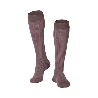 Touch Men's Compression Socks, Knee High, Checkered Pattern, 15-20 mmHg, L, BROWN (1013BN-L)