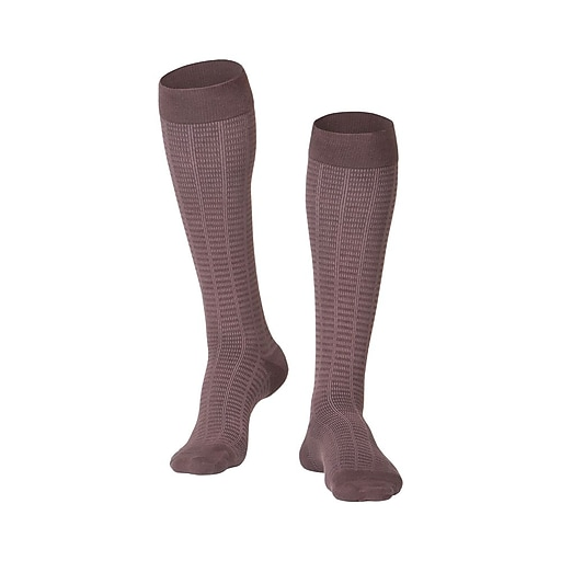 Touch Men's Compression Socks, Knee High, Checkered Pattern, 15-20 mmHg, XL, BROWN (1013BN-XL)