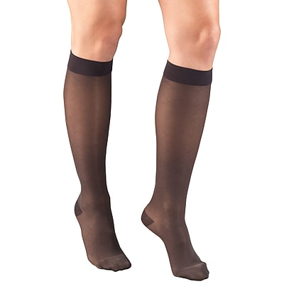 Truform Women's Stockings, Knee High, Sheer, Diamond Pattern: 15-20 mmHg, S, CHARCOAL (1783CH-S)