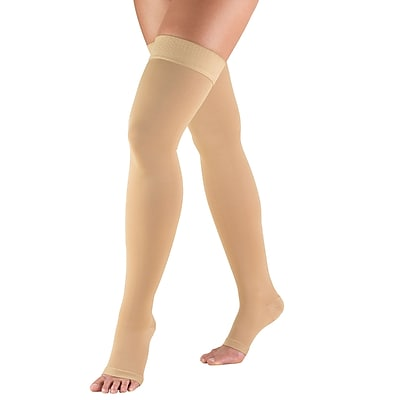 Truform Stockings, Thigh High, Open Toe, Dot Top: 30-40 mmHg, M, BEIGE (0848BG-M)