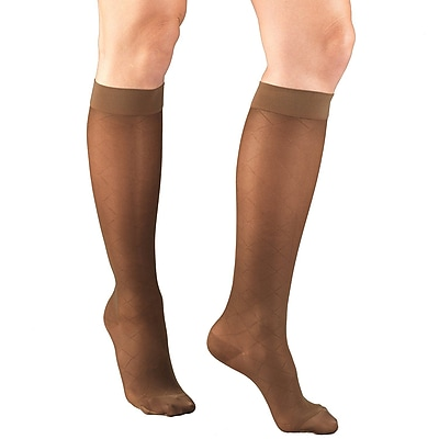 Truform Women's Stockings, Knee High, Sheer, Diamond Pattern: 15-20 mmHg, L, ESPRESSO (1783ES-L)